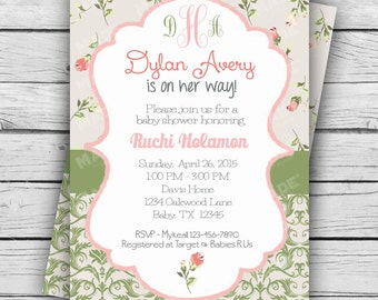 Personalized Vintage Floral #13 Baby Shower Invite, Girl Baby Shower, Boy Baby Shower, Party, Printable file or Printed