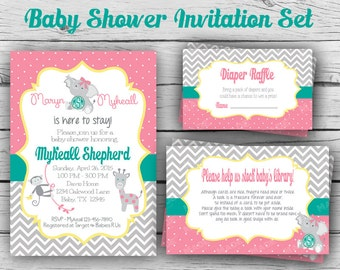 BABY ANIMALS Baby SHOWER Invitation Set, Girl Baby Shower, Boy Baby Shower, Party, Sports Baby Shower, Digital & Printable file