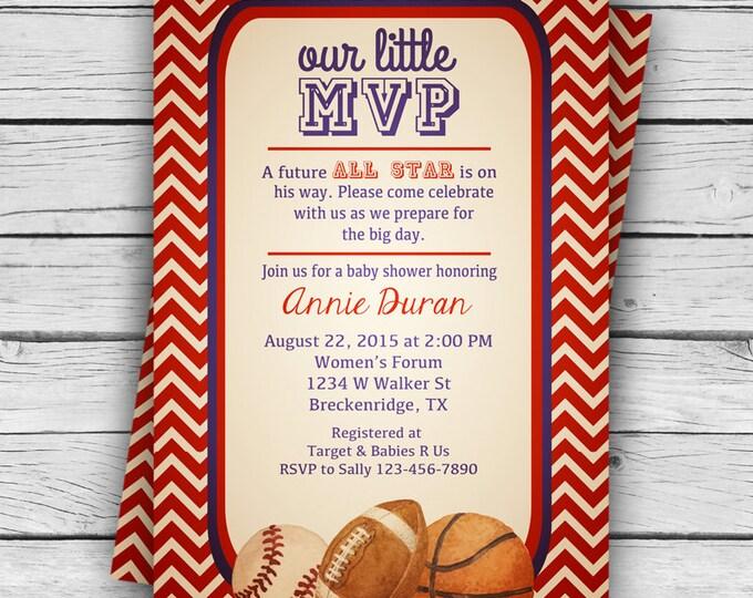 VINTAGE MVP BABY Shower Invite, Girl Baby Shower, Boy Baby Shower, Party, Sports Baby Shower, Printable file or Printed