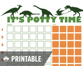 "Potty Training Chart - Dinosaur ""It's Potty Time"" - INSTANT DOWNLOAD - Printable jpg"