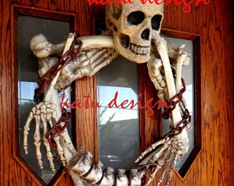 Original Scary Skeleton Wreath, -  Halloween Wreath, Halloween Decoration, Skull Wreath