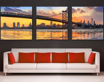 Ben Franklin Bridge, Philadelphia skyline Canvas Print -3 Panel Split, Triptych. Pennsylvania Panoramic photo for interior design wall decor