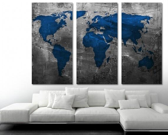Sapphire Blue World Map Canvas Print 3 Panel Split Triptych