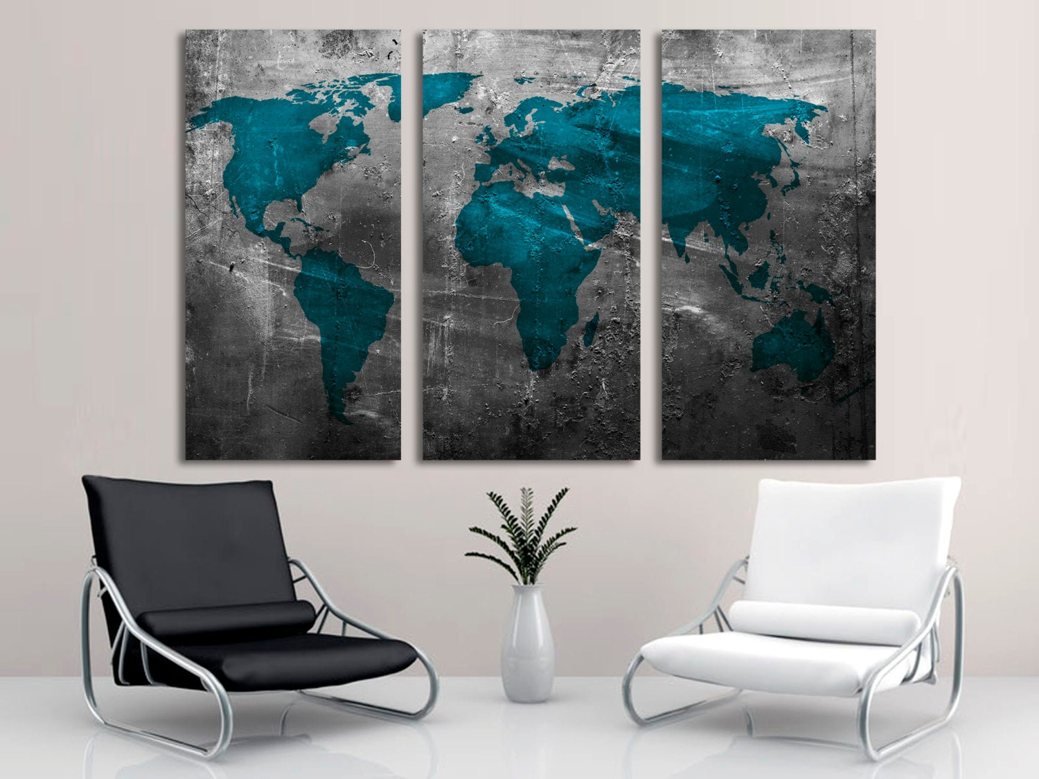 Abstract Teal World Map Canvas Print Wall Art