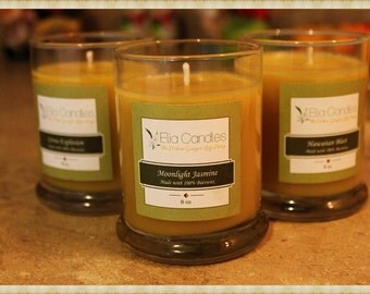 100% Pure Beeswax Candles ~ Scented Candles ~ 8 oz Libbey Status Jar ~ Hand poured with love.