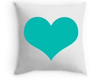 Turquoise Heart Pillow, Turquoise Heart Print, Turquoise Decorative Pillow, Turquoise White Pillow, Turquoise Decor, Turquoise Throw Pillow