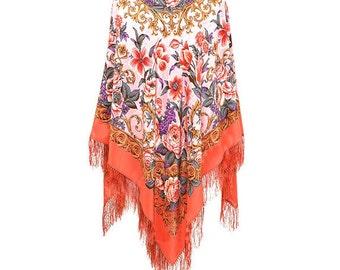 Pink orange Salmon Floral Large bohemian gypsy festival silk piano shawl with fringe