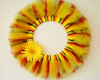 SALE: Fall Tulle Wreath with Flower Embellishment