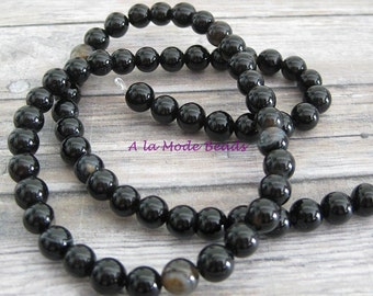 6mm Black Brown Agate Beads (30) Round Agate Beads
