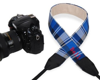 Custom name leather DSLR camera strap bohemian plaid camera strap for Nikon/Canon.Personalized camera strap for Photographers-LD01