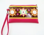 Wristlet. Clutch purse. Clutch bag. Purse, in Ndieh's Designs Sunshine fabric