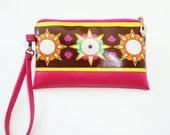 Wristlet. Clutch purse. Clutch bag. Purse, in Ndieh's Designs Sunshine fabric