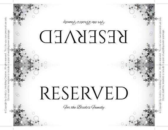 table reservation card template - reserved sign template printable wedding reception sign