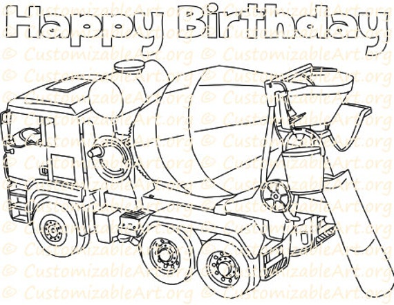Cement Dump Truck Birthday Coloring Page Printable Truck Party
