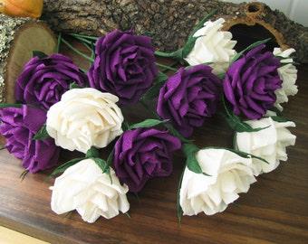Paper Flower, Ivory Purple Roses, Bridal bouquet, Crepe Rose-dozen, Wedding bouquet, Crepe Bouquet, Creme Purple Flowers, Floral Arrangement