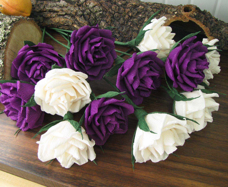 paper flower ivory purple roses bridal bouquet crepe. Black Bedroom Furniture Sets. Home Design Ideas