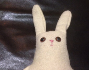 Stanley. A slightly concerned Long limbed dangly wool bunny rabbit.
