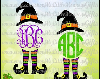 Witchy Poo Witch Hat Legs Monogram Base Halloween Design Digital Clipart and Cut File Jpeg Png SVG EPS DXF Instant Download