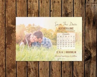DIY Custom Photo Save the Date with Calendar. Bold Romantic Script. Modern Save the Date. Ask about customization or postcard format.