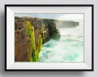 Ireland print,watercolor painting, Irish Cliffs of Moher, Pic no 20