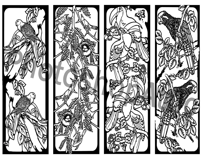 Mosaic Coloring Pages Pdf : Mosaic birds bookmarks coloring printable page sheet pdf