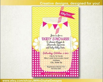 Pink lemonade baby shower, Pink Lemonade Baby Shower Invitation, Lemonade Baby Shower Invitation