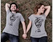 couples t-shirts anatomical heart shirt hot air balloon tee shirt couples gift matching tshirts wedding gift romantic gift steampunk shirts