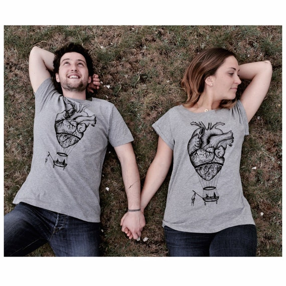 couples t-shirts anatomical heart shirt hot air balloon tee shirt couples gift matching tshirts wedding gift romantic gift steampunk shirts