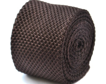 plain chocolate brown skinny knitted tie by Frederick Thomas FT2001