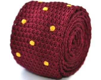 maroon and gold polka spot skinny knitted tie by Frederick Thomas FT2003