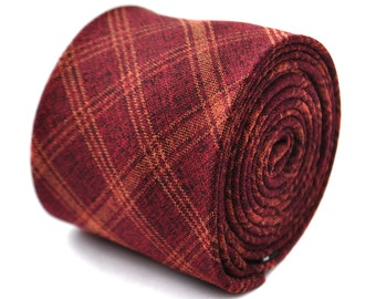 maroon and orange checkered plaid linen tie 8cm by Frederick Thomas FT2015