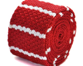 red and white striped skinny knitted tie by Frederick Thomas FT2034
