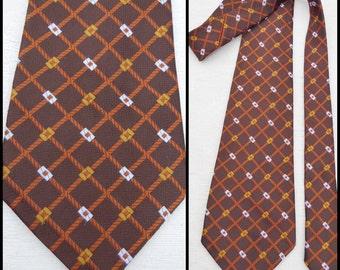 """Cravate à motifs de VTG homme brun cocher Français kipper large cravate 4,5"""" large brun graphique brillant"""