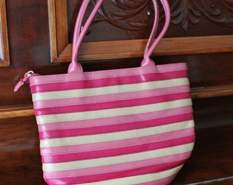 Pink Leather Purse by Dolce Vita Striped Bag Short Strap 80s Large Handbag