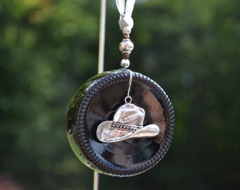 Cowboy Hat Ornament/Recycled Glass Sun Catcher