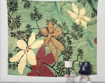 Japanese Art Wall Tapestry Chambray Floral Wall Tapestry Black Branches White Flowers Wall Tapestry Indoor and Outdoor Beach Blanket Picnic