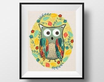 Owl Print, hand drawn, illustrated Owl, Owl Wall Art, Woodland Nursery Art Print, Owl Art, home art, nursery art, woodland animal
