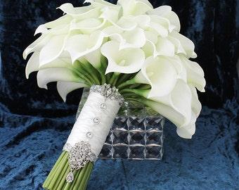 Calla Lily Bouquet Bridal Accessory Creamy White Mini Calla Lily Wedding Bridal Bouquet Calla Lilies Wedding Flowers Bridal Accessory