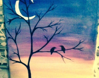 Acrylic decorative painting of birds in tree at sunset