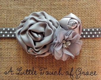 Gray polka dot baby headband. Gray Satin rolled Rosette .infant headband. Take me home. 1St birthday