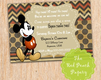 Mickey Mouse Vintage Birthday Invitation