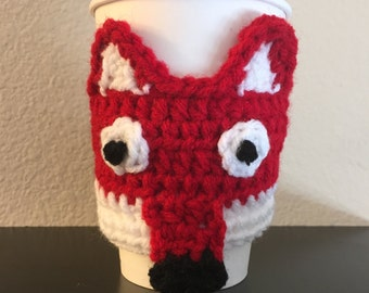 Fox Coffee Cozy, Red Fox Coffee Sleeve, Crochet Java Jacket, Travel Cup Holder, Can or Bottle Holder