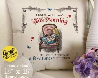 ALICE IN WONDERLAND Cushion Pillow Cover Mad Hatter Tea Party This Morning