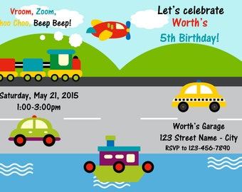 Cars, Trains, and Boats Birthday Invitation