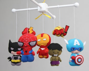 Baby Mobile - Baby Crib Mobile - Super Hero Mobile - Nursery Super Heroes Mobile-Spider-Man,Batman,Captain America,Iron man,Hulk