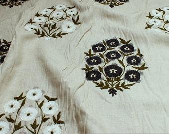 Fabric linen nature embroidery flower dark blue