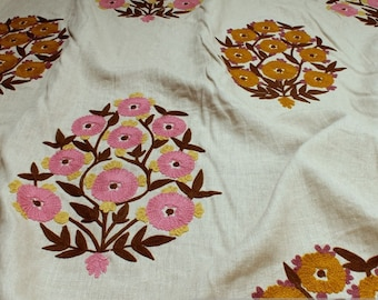 Fabric pure linen nature embroidery flower hot pink