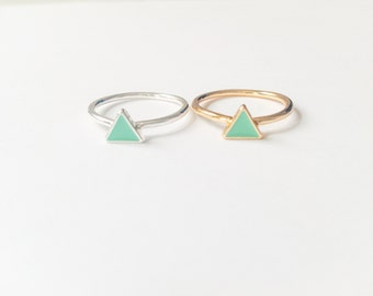 Triangle ring in gold or silver, midi ring, mint ring, gold ring, silver ring, cute ring, gold midi, triangle ring