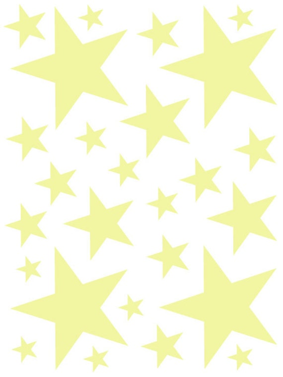 52 Pale Yellow Cream Vinyl Star Shaped Bedroom Wall Decals Stickers Teen Kids Baby Nursery Dorm Room Removable Custom Made Easy to Install