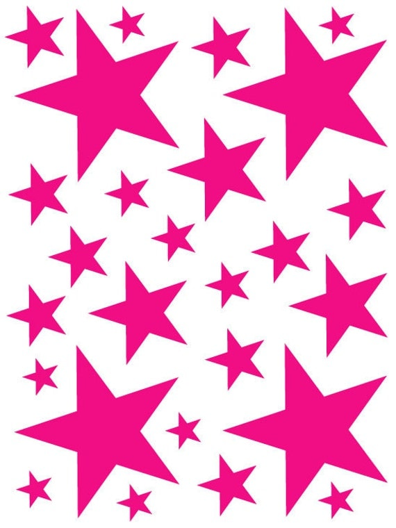 52 Hot Pink Vinyl Star Shaped Bedroom Wall Decals Stickers Stars Teen Kids Baby Nursery Dorm Room Removable Custom Made Easy to Install